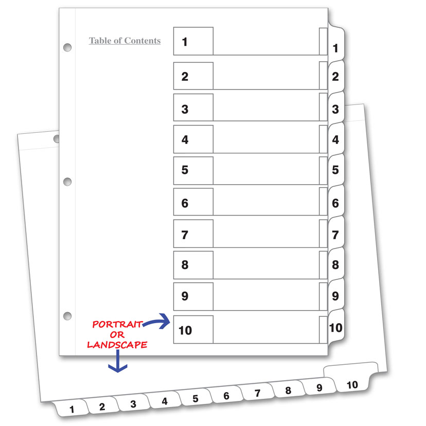 Avery 11188 Ready Index Table Of Contents Reference Divider